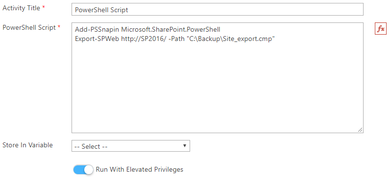 How to schedule a daily site backup using PowerShell activity in SPARK Workflow2.png